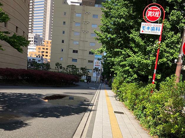 NTT東日本ビルを左手に西新宿方面へ直進します。